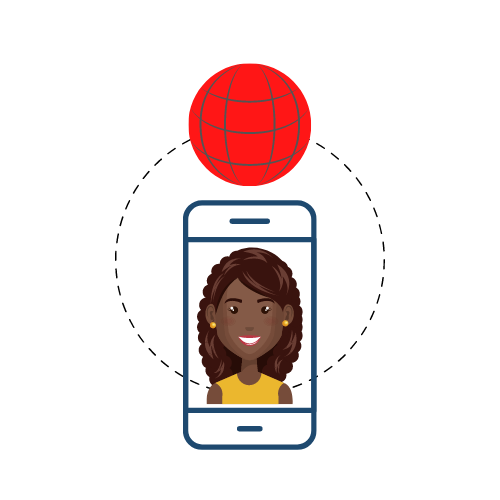 African woman connected to the internet with a phone
