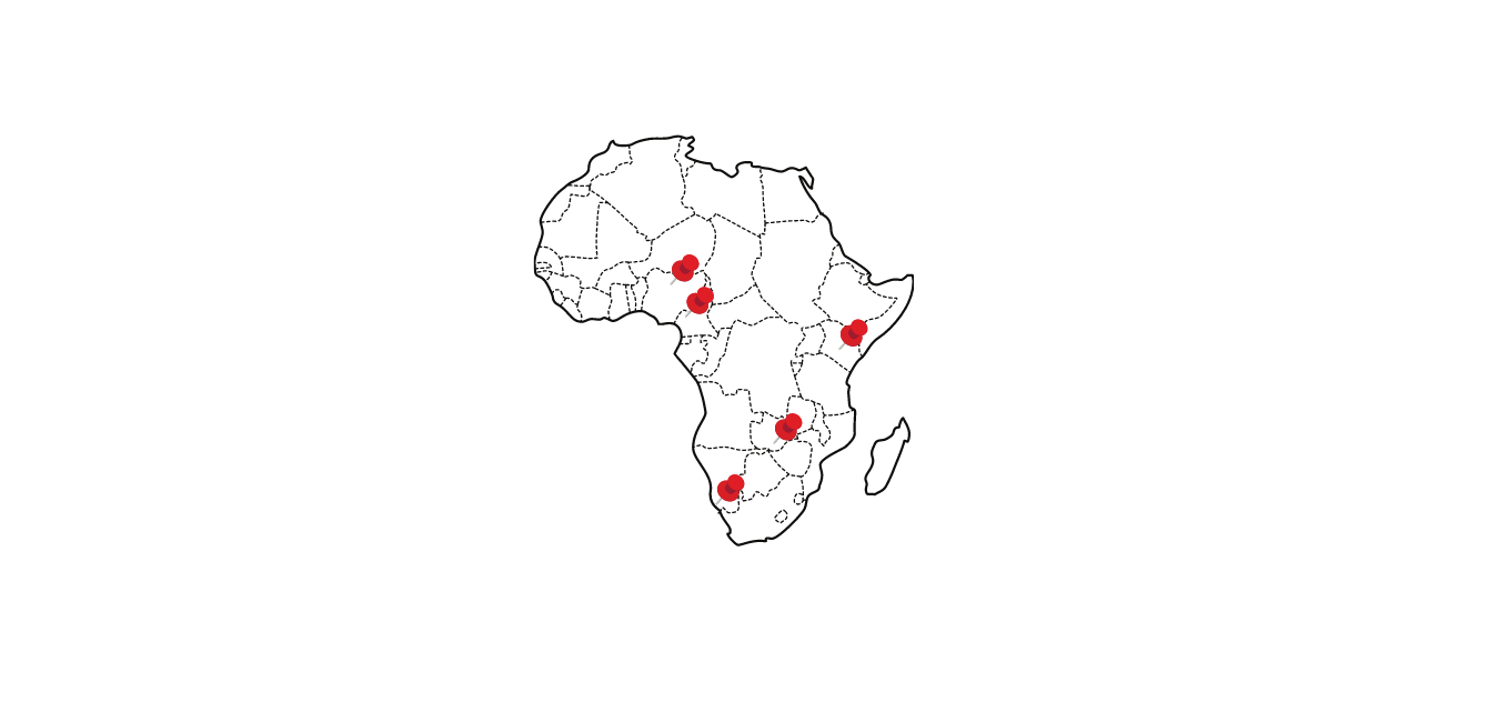African continent with pins attached to the countries where S4G has operations