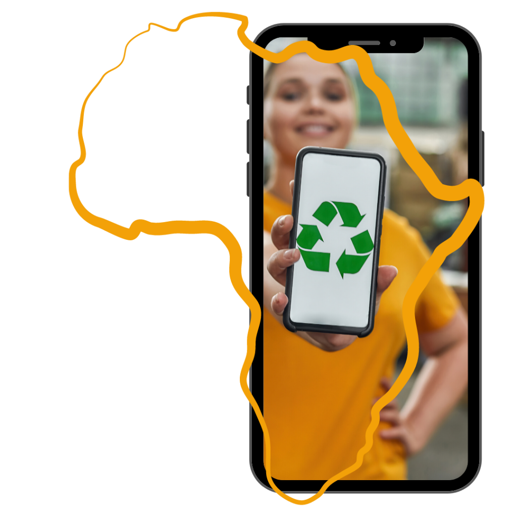 Girl holding a mobile phone with a recycling symbol and a map of Africa